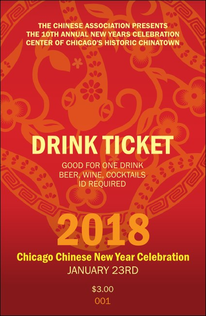 Chinese New Year Flower Snake Drink Ticket