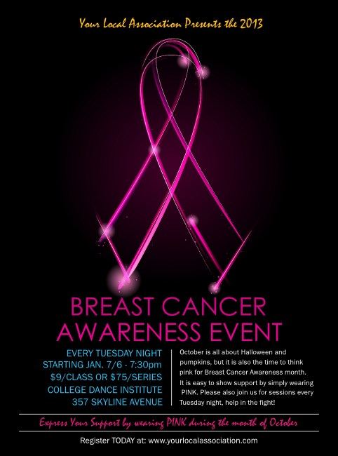Breast Cancer Ribbon Sparkle Flyer Product Front