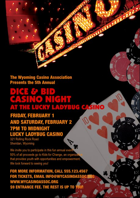 Casino Night Postcard Product Front
