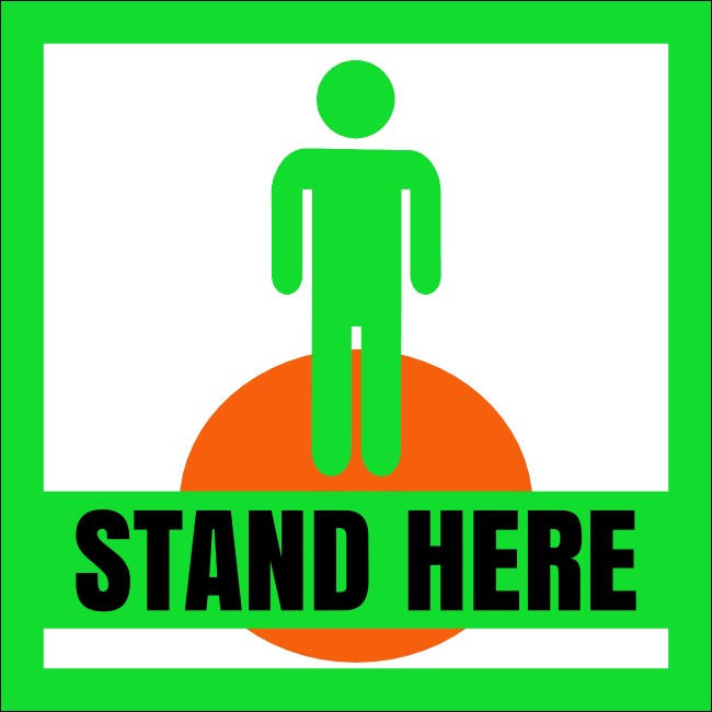 "5"" x 5"" Social Distance Stand Here Sticker1"