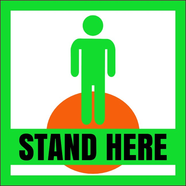 "4"" x 4"" Social Distance Stand Here Vinyl Sticker Small 1 Product Front"