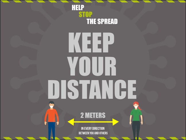 "4"" x 3"" Keep Your Distance Economy Sticker Product Front"