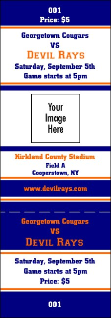 Sports Ticket 001 Blue & Orange