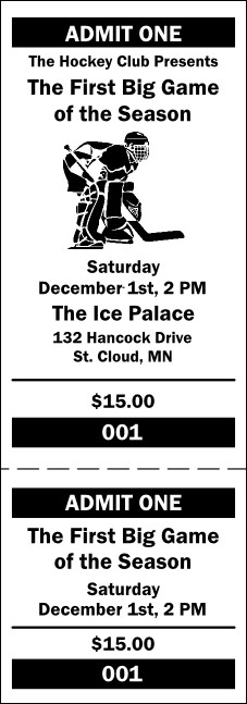 Hockey General Admission Ticket 001 Product Front