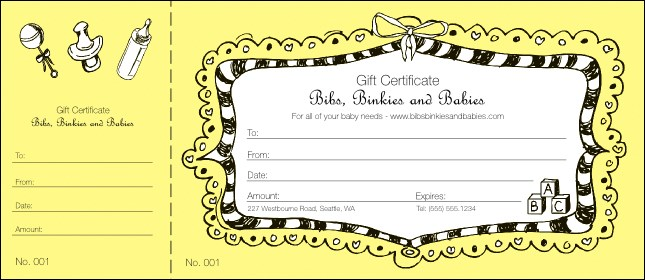 Baby Gift Certificate