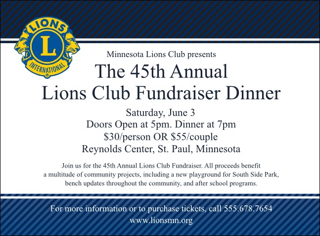 Lions Club Invitation Product Front