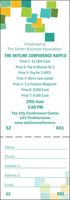 Green Squares Raffle Ticket Product Front
