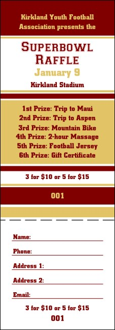 Sports Raffle Ticket 006 in Maroon and Gold Product Front