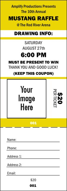 Your Image Raffle Ticket 001 (Yellow) Product Front
