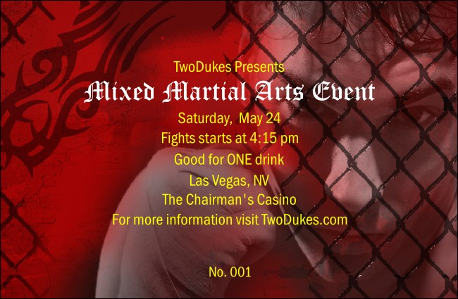 Mixed Martial Arts Event Drink Ticket