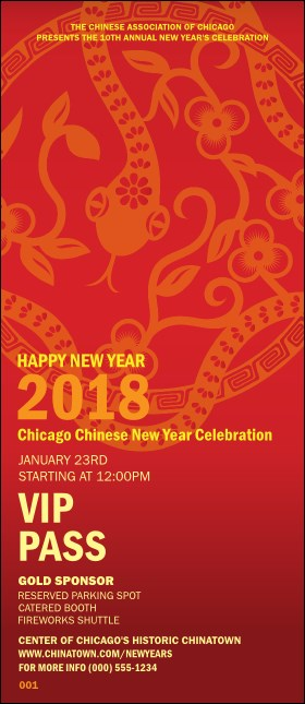Chinese New Year Flower Snake VIP Pass Product Front