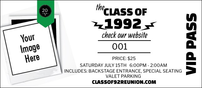 Class Reunion Mascot Green VIP Pass Product Front