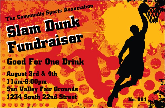 Basketball Drink Ticket Product Front