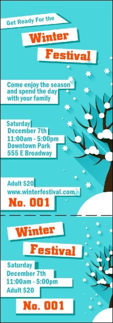 Winter Cut Paper Event Ticket Product Front