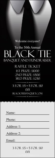 Black Tie Raffle Ticket Product Front