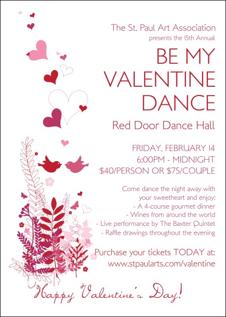 Valentine Love Birds Club Flyer